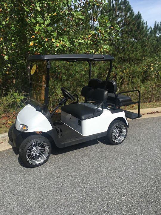 Custom White EZGO Golf Cart - Lanier Carts and Outdoors on custom electric golf carts, custom lifted golf carts, custom golf carts california, tricked out custom golf carts, ezgo golf carts, electric club car golf carts,
