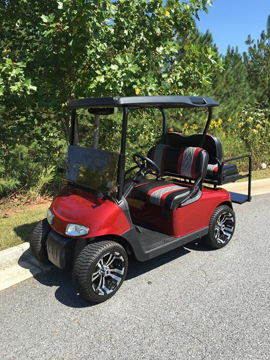 EZGO RXV Cart with Custom Seats - Lanier Carts and Outdoors Coustom Seats Ez Go Golf Carts on
